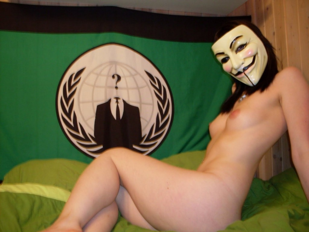 naked girl with guy fawkes mask