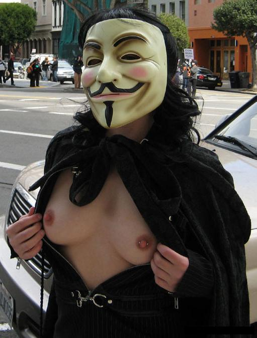 guy fawkes mask peekaboo boobs