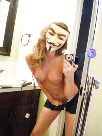 boobs with guy fawkes mask